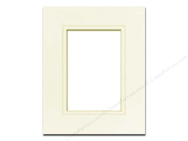 Pre-cut Double Photo Mat Board by Accent Design Cream Core 8 x 10 in. for 5 x 7 in. Photo Ivory/Ivory