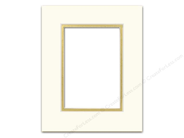 Pre-cut Double Photo Mat Board by Accent Design Cream Core 8 x 10 in. for 5 x 7 in. Photo Ivory/Gold