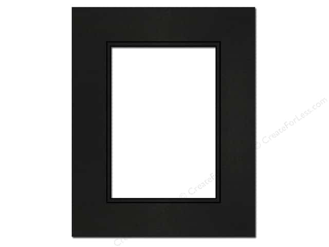 PA Framing Pre-cut Double Photo Mat Board Black Core 8 x 10 in. for 5 x 7 in. Photo Black/Black
