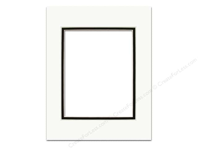 Pre-cut Double Photo Mat Board by Accent Design Cream Core 5 x 7 in. for 3 1/2 x 5 in. Photo White/Black