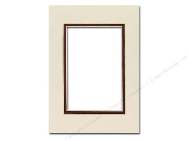 PA Framing Pre-cut Double Photo Mat Board Cream Core 5 x 7 in. for 3 1/2 x 5 in. Photo White Cream Pebble/Maroon