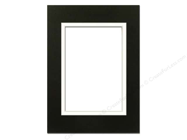 Pre-cut Double Photo Mat Board by Accent Design Cream Core 5 x 7 in. for 3 1/2 x 5 in. Photo Black/White