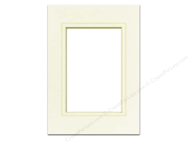 Pre-cut Double Photo Mat Board by Accent Design Cream Core 5 x 7 in. for 3 1/2 x 5 in. Photo Ivory/Ivory