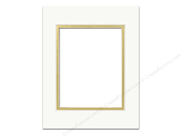 Pre-cut Double Photo Mat Board by Accent Design Cream Core 5 x 7 in. for 3 1/2 x 5 in. Photo Ivory/Gold