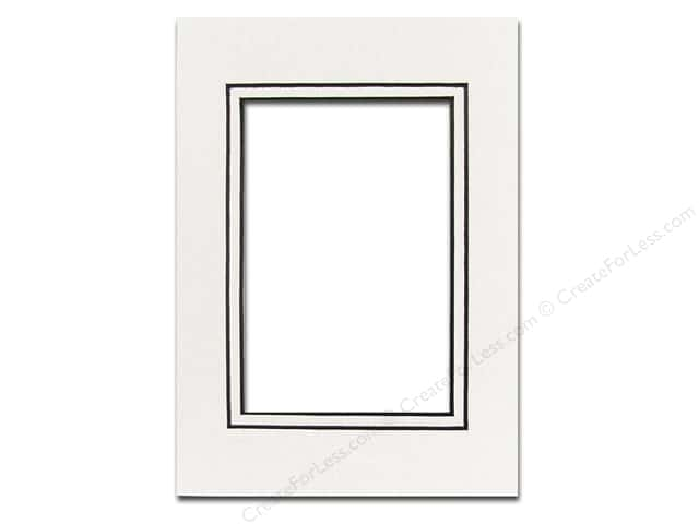 Pre-cut Double Photo Mat Board by Accent Design Black Core 5 x 7 in. for 3 1/2 x 5 in. Photo White/White