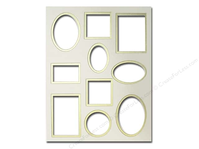 Pre-cut Double Photo Mat Board by Accent Design Cream Core 11 x 14 in. 10 Opening Ivory/Gold