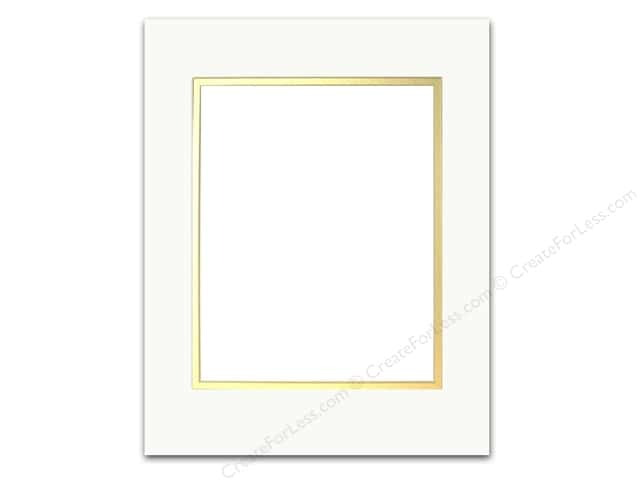 Pre-cut Double Photo Mat Board by Accent Design Cream Core 11 x 14 in. for 8 x 10 in. Photo White/Gold