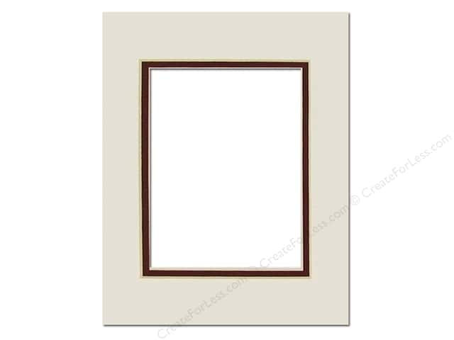PA Framing Pre-cut Double Photo Mat Board Cream Core 11 x 14 in. for 8 x 10 in. Photo White Cream Pebble/Maroon