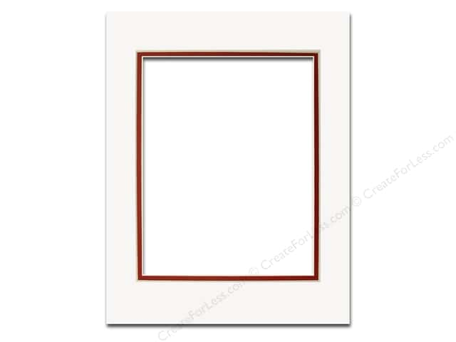 Pre-cut Double Photo Mat Board by Accent Design Cream Core 11 x 14 in. for 8 x 10 in. Photo White/Deep Red