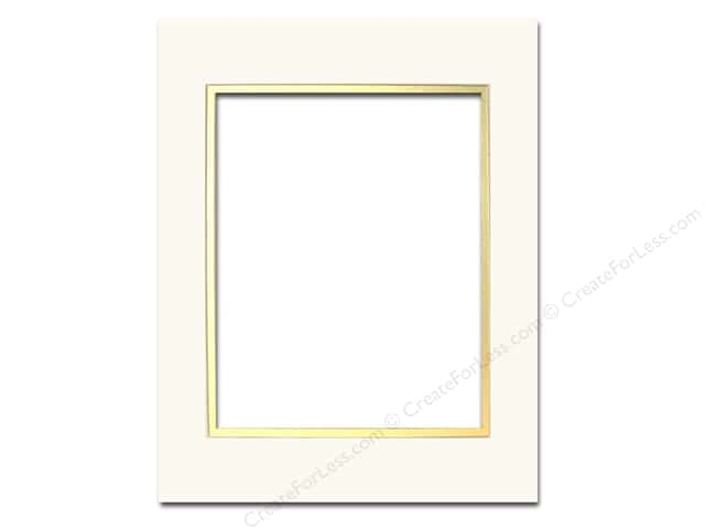 Pre-cut Double Photo Mat Board by Accent Design Cream Core 11 x 14 in. for 8 x 10 in. Photo Ivory/Gold