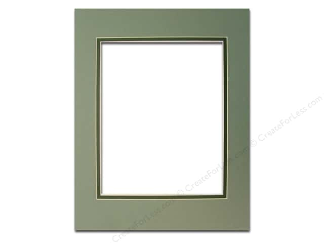 Pre-cut Double Photo Mat Board by Accent Design Cream Core 11 x 14 in. for 8 x 10 in. Photo Sea Foam/Hunter Green
