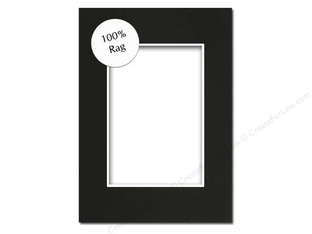 Pre-cut Rag Photo Mat Board by Accent Design White Core 5 x 7 in. for 3 1/2 x 5 in. Photo Black