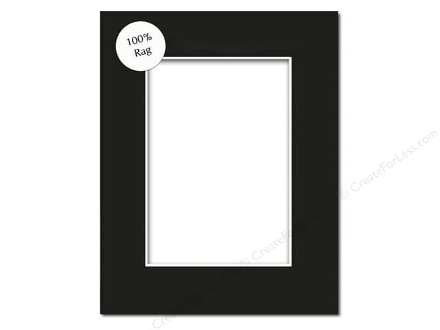 Pre-cut Rag Photo Mat Board by Accent Design White Core 8 x 10 in. for 5 x 7 in. Photo Black