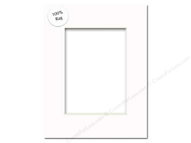 PA Framing Pre-cut Rag Photo Mat Board White Core 11 x 14 in. for 8 x 10 in. Photo White