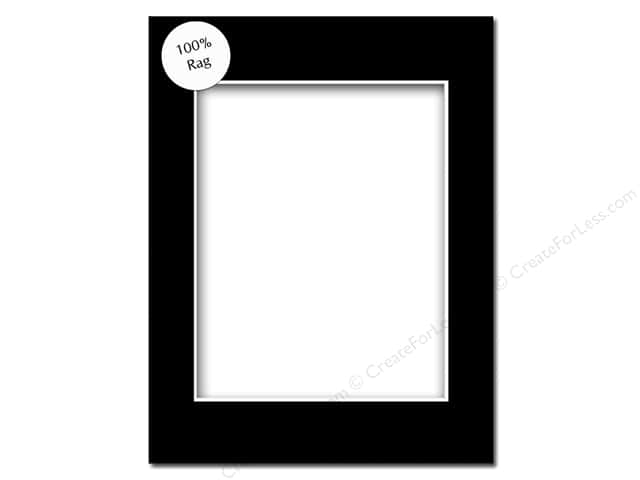 PA Framing Pre-cut Rag Photo Mat Board White Core 11 x 14 in. for 8 x 10 in. Photo Black