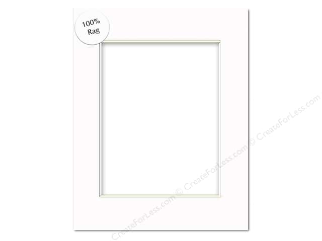 Pre-cut Rag Photo Mat Board by Accent Design White Core 16 x 20 in. for 11 x 14 in. Photo White