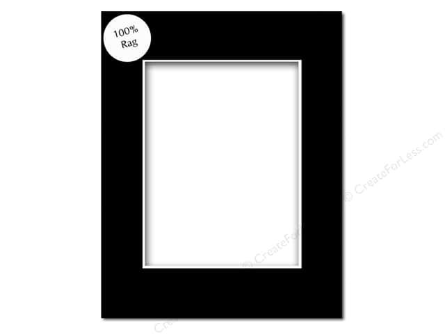 Pre-cut Rag Photo Mat Board by Accent Design White Core 16 x 20 in. for 11 x 14 in. Photo Black
