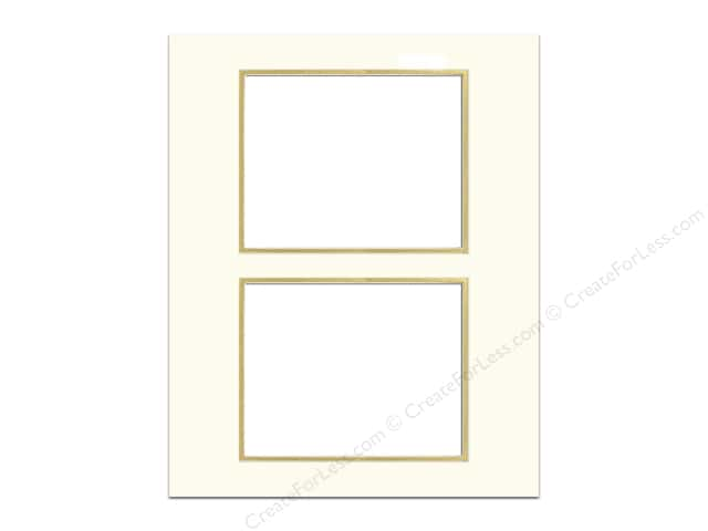 Pre-cut Double Photo Mat Board by Accent Design Cream Core 16 x 20 in. 2 Openings Ivory/Gold