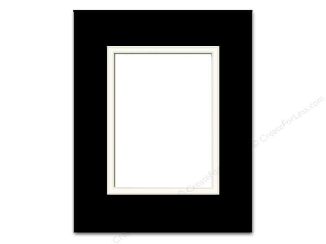 Pre-cut Double Photo Mat Board by Accent Design Cream Core 16 x 20 in. for 11 x 14 in. Photo Black/White