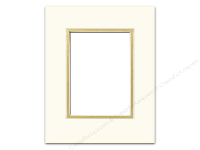 Pre-cut Double Photo Mat Board by Accent Design Cream Core 16 x 20 in. for 11 x 14 in. Photo Ivory/Gold