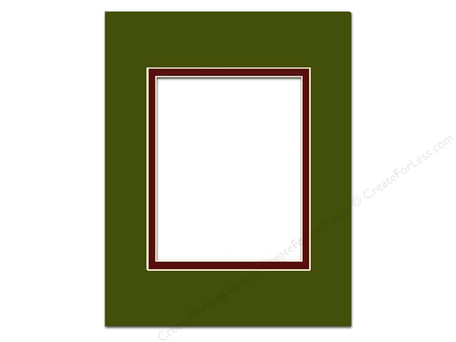 Pre-cut Double Photo Mat Board by Accent Design Cream Core 16 x 20 in. for 11 x 14 in. Photo Dill/Maroon