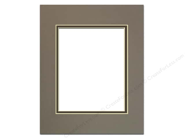 Pre-cut Double Photo Mat Board by Accent Design Cream Core 16 x 20 in. for 11 x 14 in. Photo Cobblestone/Cinder