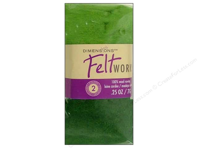Dimensions Feltworks 100% Wool Roving Spring Green/Spruce