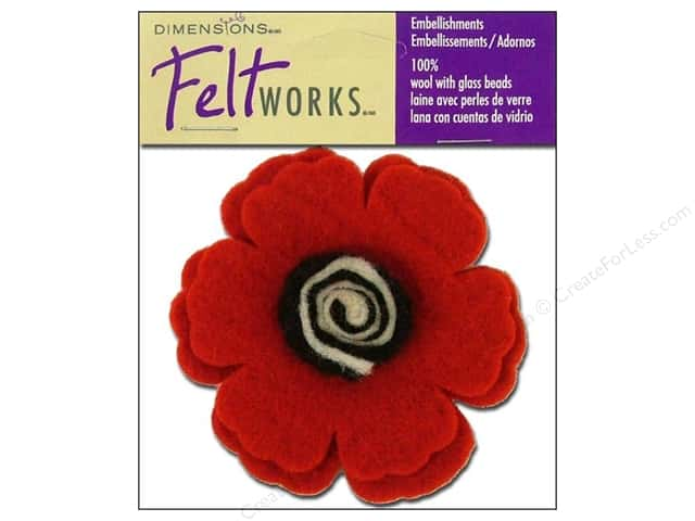 Dimensions Feltworks 100% Wool Felt Embellishment Poppy Flower