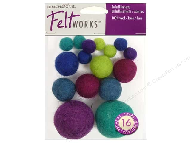 Dimensions Feltworks 100% Wool Felt Embellishment Balls Cool Assortment