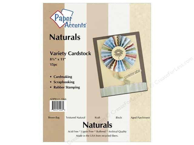 Cardstock Variety Pack 8 1/2 x 11 in. Naturals 15 pc. by Paper Accents
