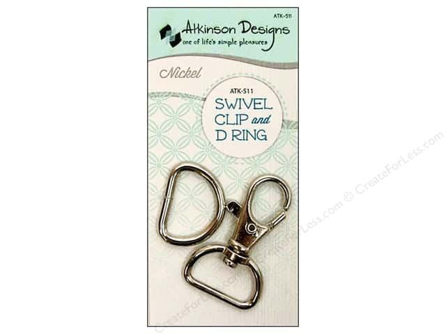 Atkinson Designs Swivel Clip And D Ring 3/4 in. Nickel