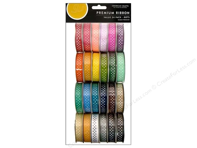 American Crafts Ribbon Value Pack 24 pc. Dot Grosgrain #1