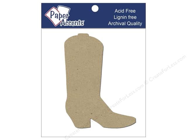 Paper Accents Chipboard Shape Cowboy Boot 8 pc. Kraft