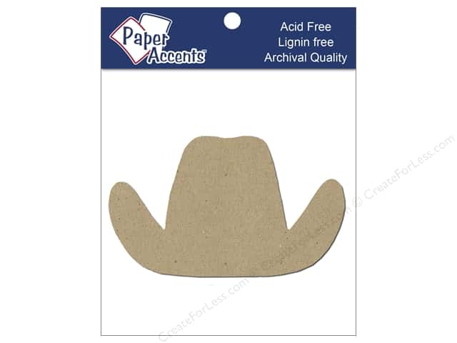 Paper Accents Chipboard Shape Cowboy Hat 8 pc. Kraft