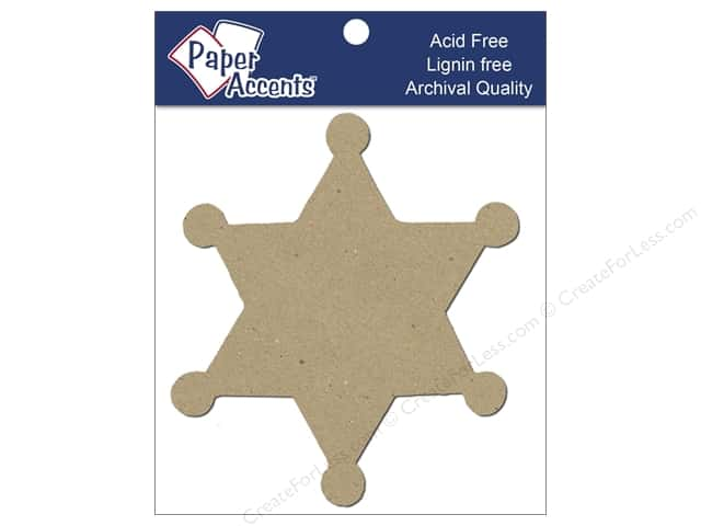 Paper Accents Chipboard Shape Sheriff Badge 8 pc. Kraft