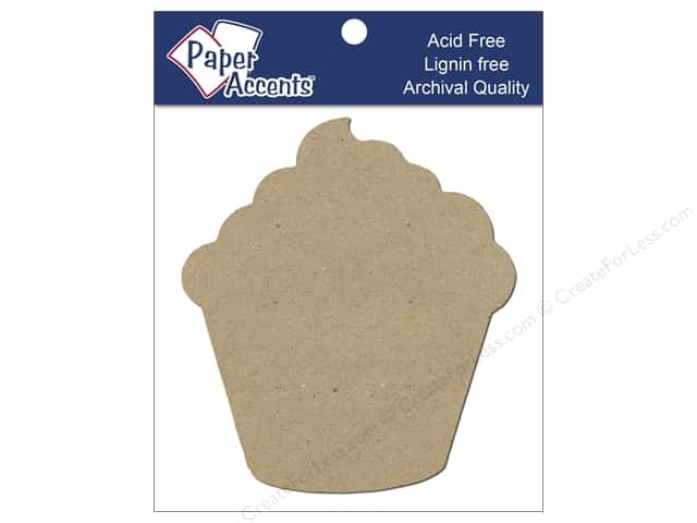 Paper Accents Chipboard Shape Cupcake 8 pc. Kraft