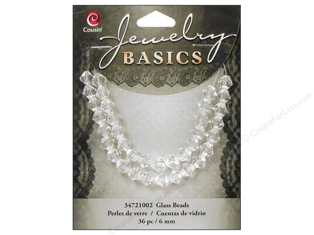 Cousin Basics Glass Beads 6 mm Bicone Crystal Clear 36 pc.