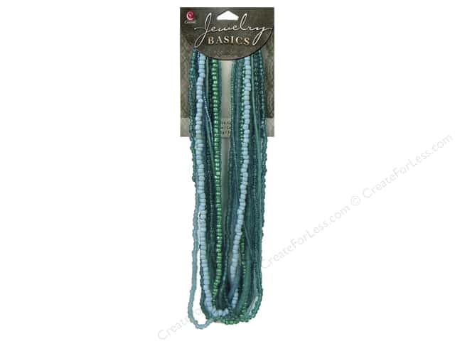 Cousin Basics Glass Seed Mix Beads 3.18 oz. Teal