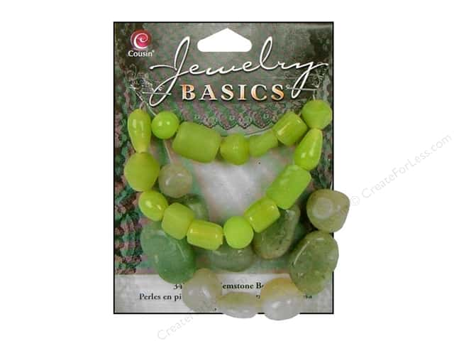 Cousin Basics Gemstone and Glass Beads 1.55 oz. Lime Green
