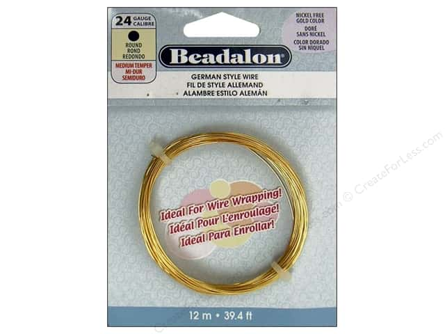Beadalon German Style Wire 24ga Round Gold 39.4 ft.