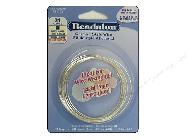 Beadalon German Style Wire 21ga Fancy Square Silver Plated 8.2 ft.