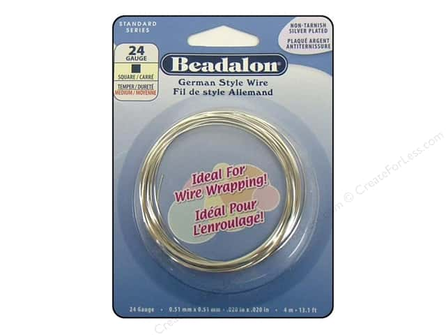 Beadalon German Style Wire 24ga Square Silver Plated 13.1 ft.