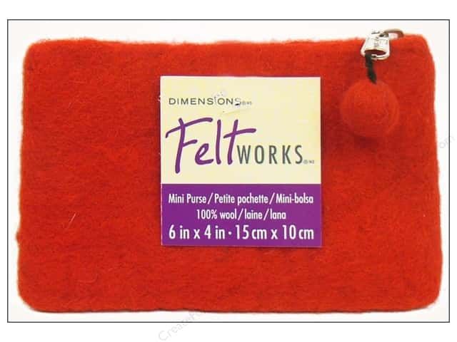 Dimensions 100% Wool Blanks Feltworks Purse Mini Red