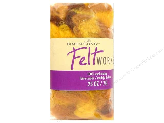 Dimensions Feltworks 100% Wool Roving Curly Variegated Gold