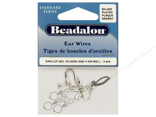 Beadalon Ear Wires Clip 4 mm Ball/Ring Silver Plated 2 pc.