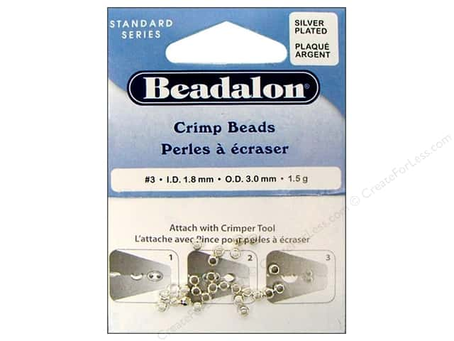 Beadalon Crimp Beads 3 mm Silver Plated .05 oz.