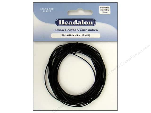 Beadalon Indian Leather Cord 1.0 mm (.039 in.) Black 5 m (16.4 ft.)