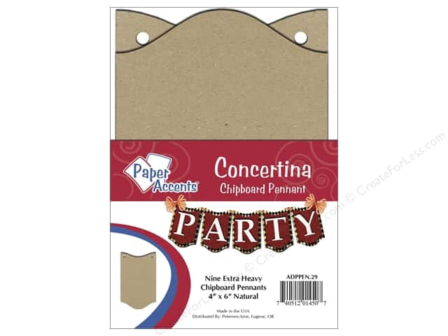 Paper Accents Chipboard Pennants 4 x 6 in. Concertina 9 pc. Natural