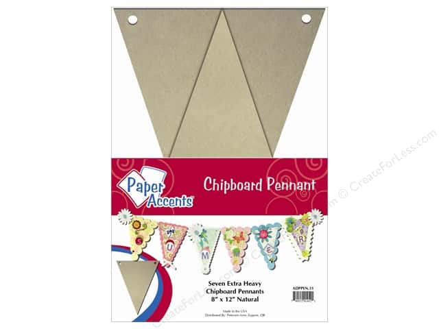 Paper Accents Chipboard Pennants 8 x 12 in. 7 pc. Kraft