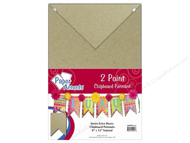 Paper Accents Chipboard Pennants 8 x 12 in.Two Point 7 pc. Natural
